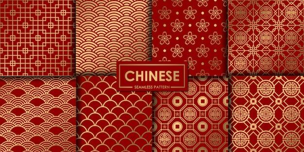 Goldene chinesische nahtlose mustersammlung. Premium Vektoren