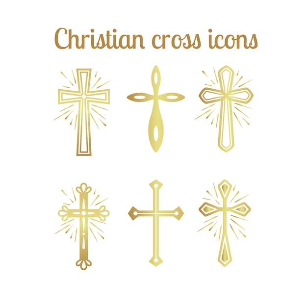 Goldene christliche kreuzikonen eingestellt Premium Vektoren