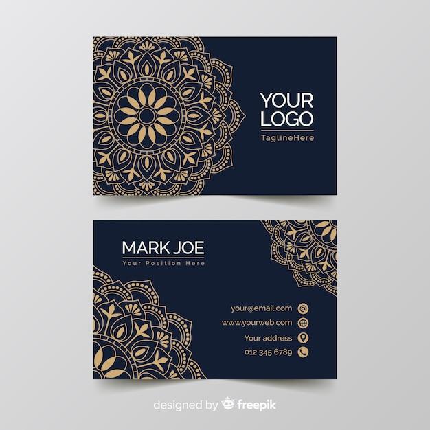 Goldene dekorative visitenkarteschablone Kostenlosen Vektoren