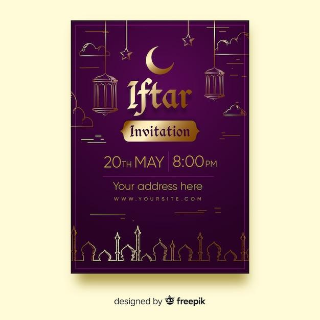 Goldene details der flachen iftar party einladung Kostenlosen Vektoren