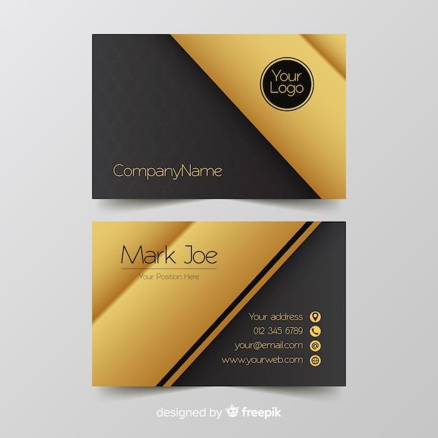 Goldene details der visitenkarteschablone Kostenlosen Vektoren