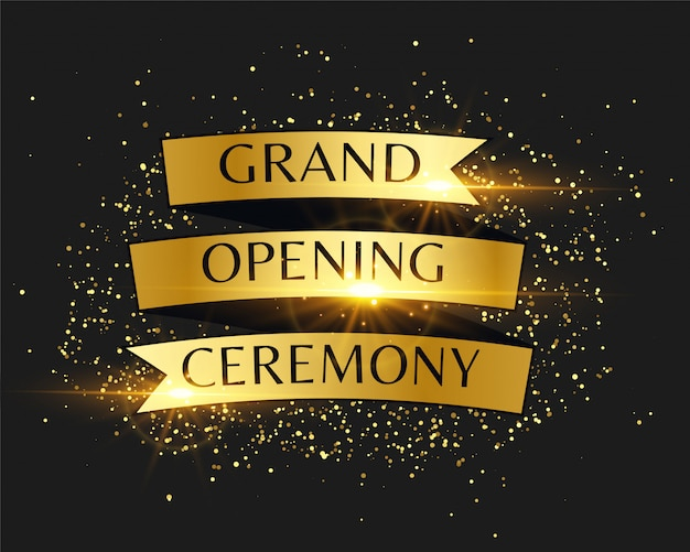 Goldene einladung zur eröffnungsfeier Kostenlosen Vektoren