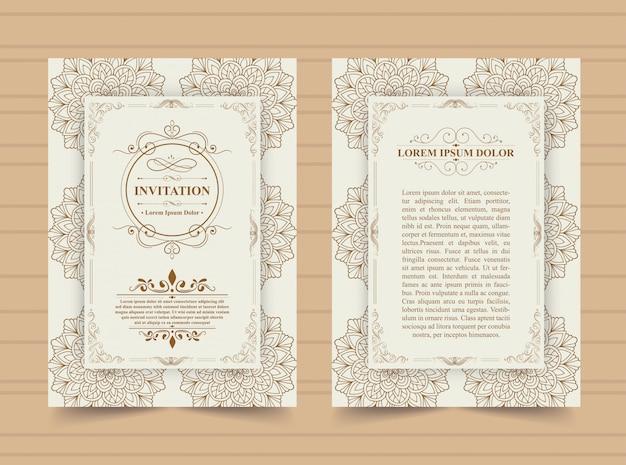 Goldene einladungskartenschablone der luxusweinlese. Premium Vektoren