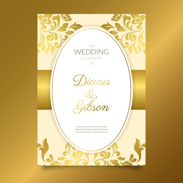 Goldene elegante damasthochzeits-einladungsschablone Kostenlosen Vektoren