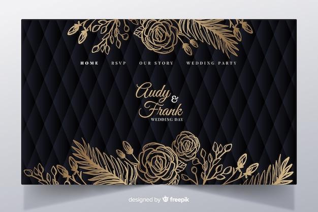 Goldene elegante hochzeitslandungsseitenschablone Kostenlosen Vektoren