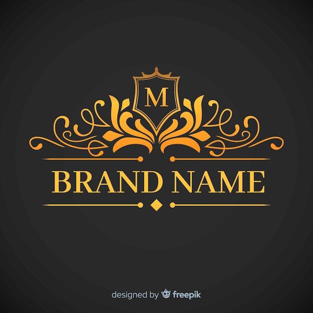Goldene elegante korporative logoschablone Kostenlosen Vektoren