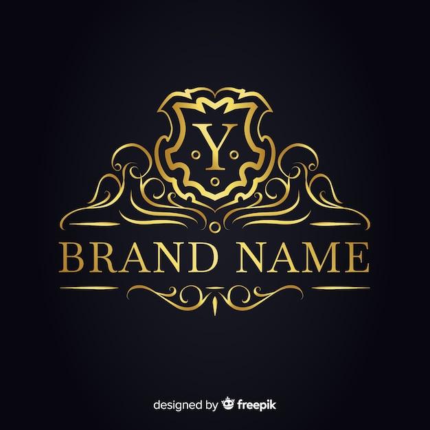 Goldene elegante logo-vorlage für unternehmen Kostenlosen Vektoren
