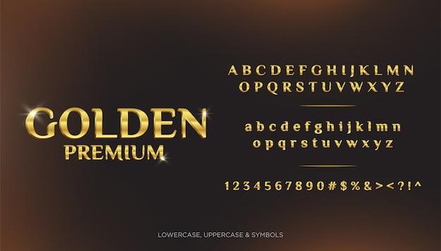 Goldene erstklassige text-alphabete 3d Premium Vektoren