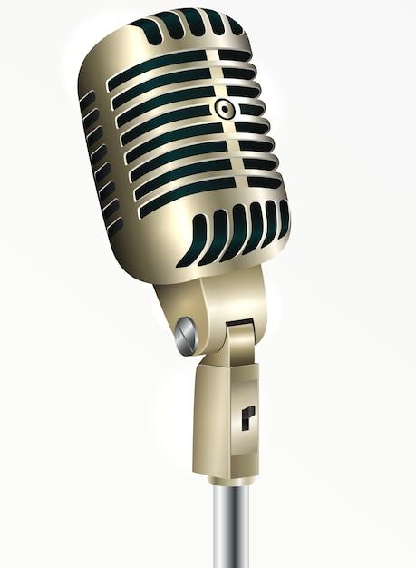Goldene farbe des weinlesemikrofons auf einer weißen hintergrund-vektorillustration Premium Vektoren