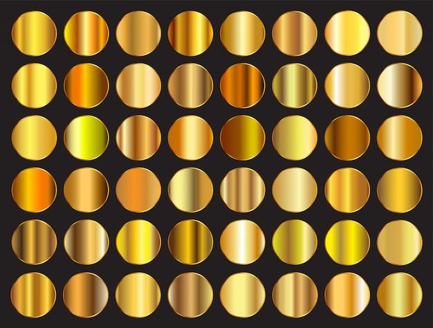 Goldene farbverläufe eingestellt Premium Vektoren