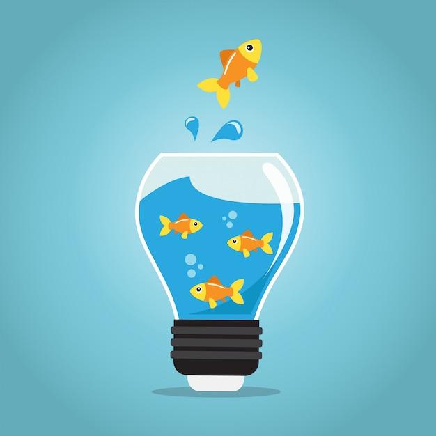 Goldene fische, die außerhalb der goldfischglasbirne springen Premium Vektoren