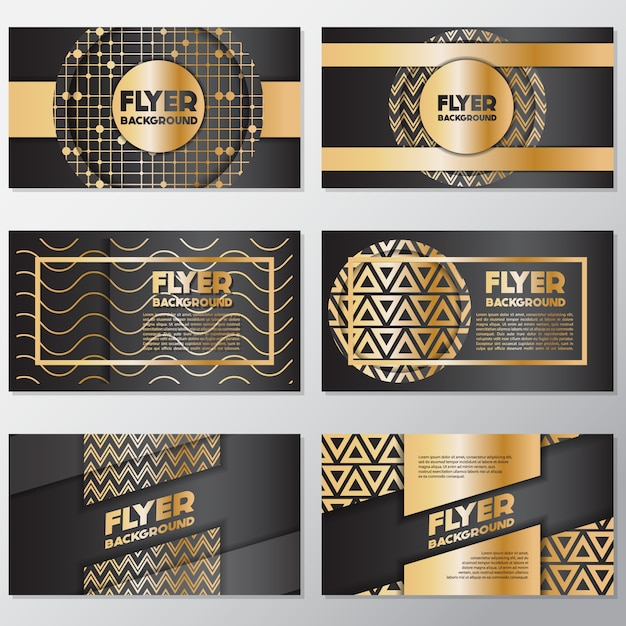 Goldene Flyer-Kollektion Kostenlose Vektoren