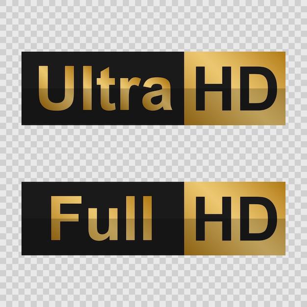 Goldene full hd- und ultra hd-etiketten. zeichen der modernen technologie Premium Vektoren
