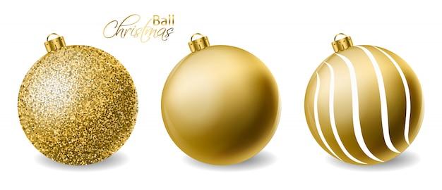 Goldene funkeln weihnachtskugeln Premium Vektoren