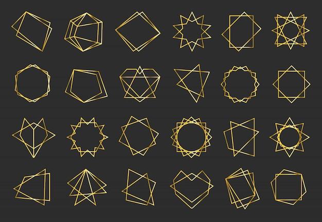 Goldene geometrische flache rahmen gesetzt Kostenlosen Vektoren