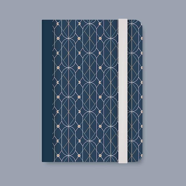 Goldene geometrische musterabdeckung eines blauen tagebuchvektors Kostenlosen Vektoren