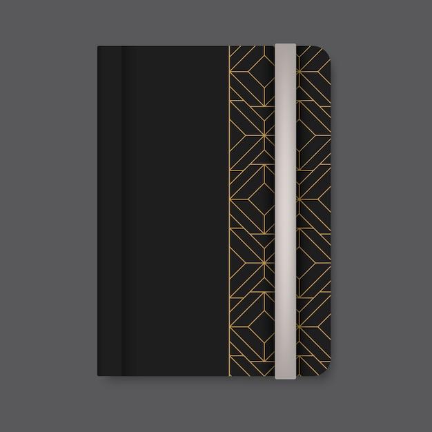 Goldene geometrische musterabdeckung eines schwarzen tagebuchvektors Kostenlosen Vektoren