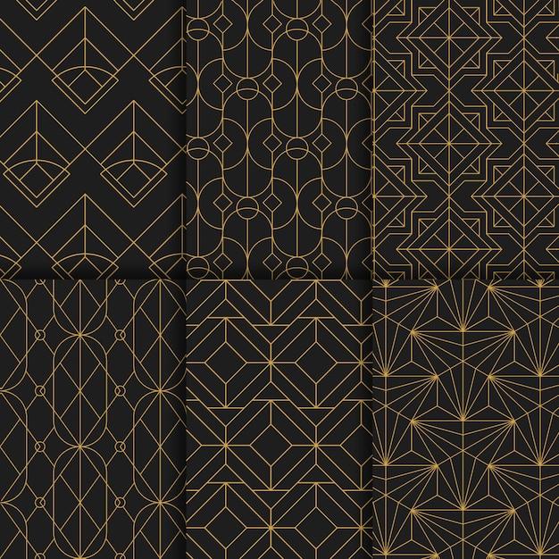 Goldene geometrische nahtlose muster stellten auf schwarzen hintergrund ein Kostenlosen Vektoren
