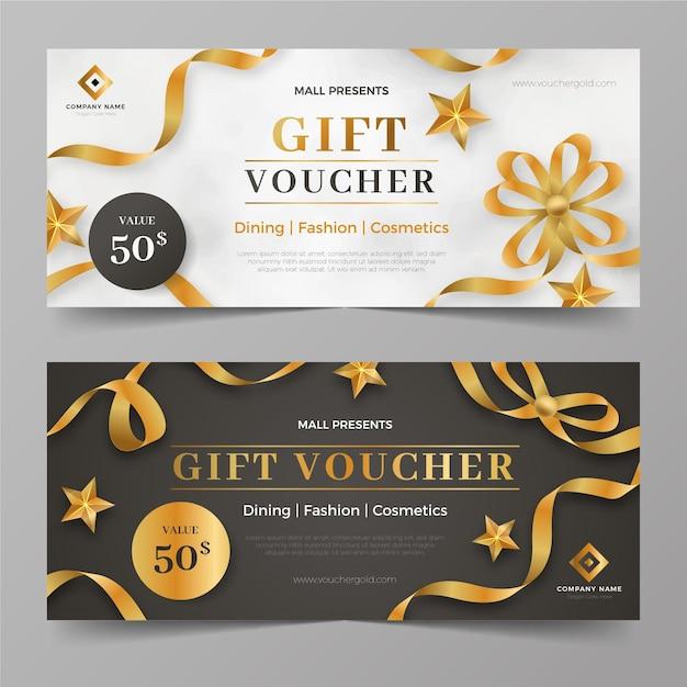 Goldene geschenkgutscheinschablonensammlung Kostenlosen Vektoren