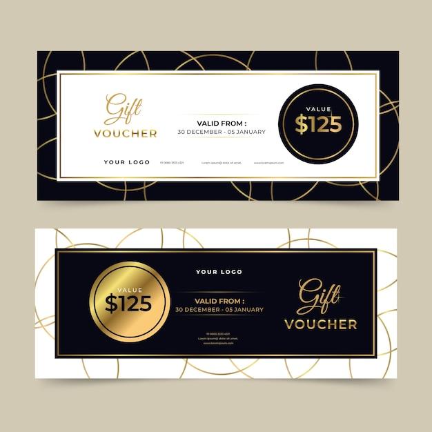 Goldene geschenkgutscheinvorlage Kostenlosen Vektoren