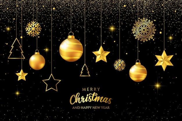 Goldene hängende luxusweihnachtsbälle auf schwarzem hintergrund Kostenlosen Vektoren