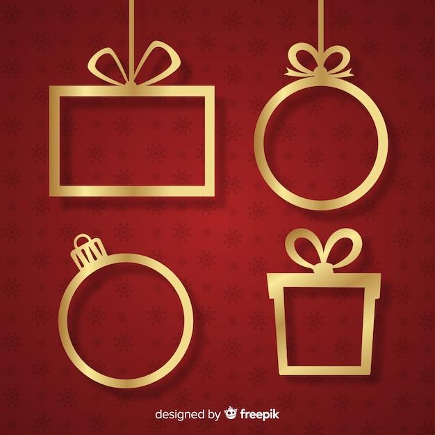 Goldene hängende weihnachtsrahmen Kostenlosen Vektoren