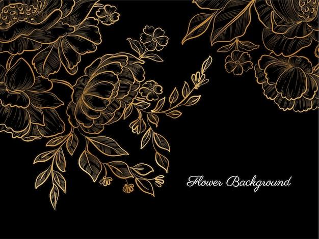 Goldene hand gezeichnete blume auf schwarzem hintergrund Kostenlosen Vektoren