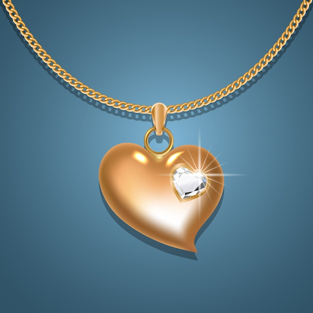 Goldene herzkette mit diamant an einer goldenen kette. Premium Vektoren