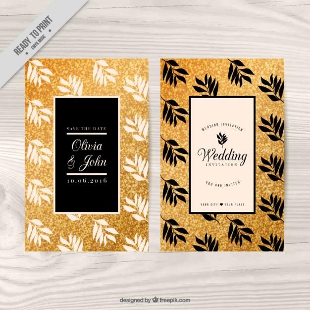Goldene Hochzeit Einladung Mit Blumenthema Kostenlose Vektor