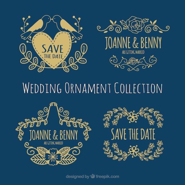 Goldene Hochzeit Elemente Kostenlose Vektor