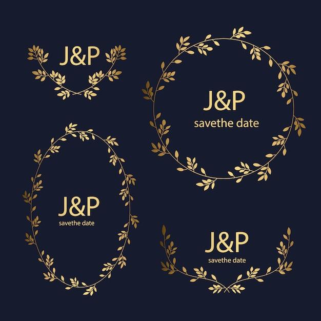Goldene Hochzeit Ornamente Sammlung Kostenlose Vektor