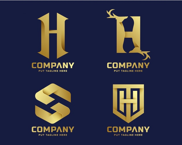 Goldene initiale buchstabe h logo sammlung Premium Vektoren
