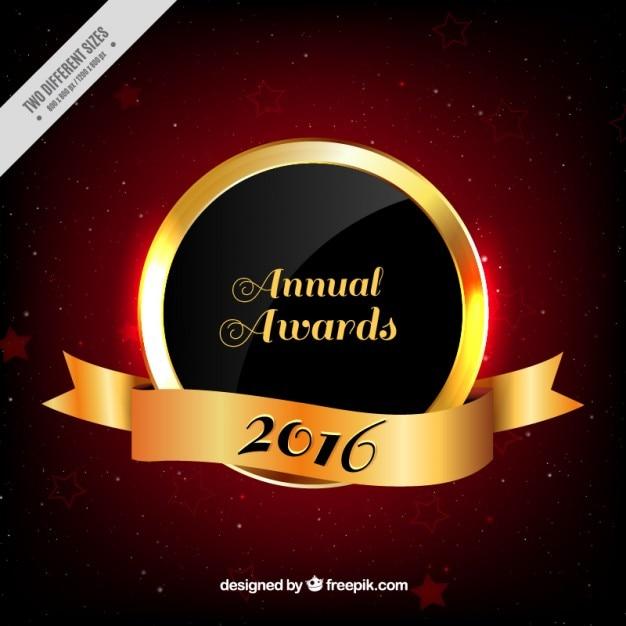 Goldene jährliche auszeichnung 2016 mit band Kostenlosen Vektoren