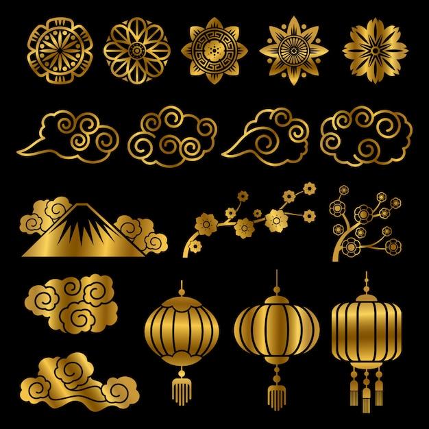 Goldene japanische und chinesische asiatische motivvektor-dekorelemente Premium Vektoren