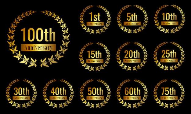 Goldene jubiläumsfeier abzeichen gesetzt Premium Vektoren
