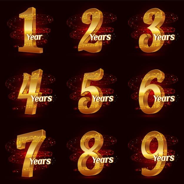 Goldene jubiläumszahlen festgelegt. feier des logos 3d mit funkelnden partikel der goldspiralenstern-staubspur. Premium Vektoren