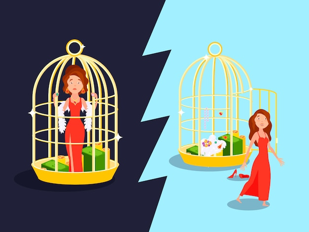 Goldene käfigliebeszusammensetzung der heirat bequemlichkeit mit unglücklicher frauenkarikatur Kostenlosen Vektoren