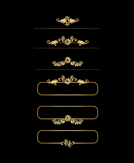 Goldene kalligraphische gestaltungselemente. goldmenü und einladungsrand, rahmen, teiler, seitendekor. Kostenlosen Vektoren
