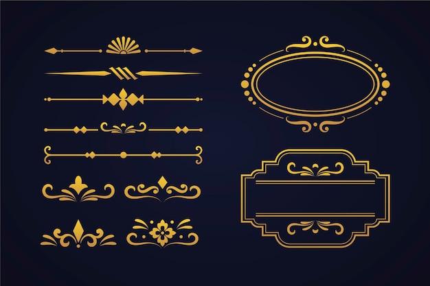 Goldene kalligraphische verzierungssammlung Kostenlosen Vektoren