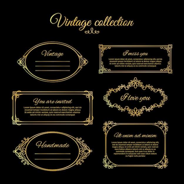 Goldene kalligraphische vignetten Premium Vektoren
