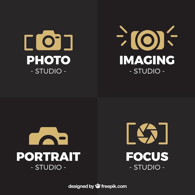 goldene kameralogosammlung download der kostenlosen vektor