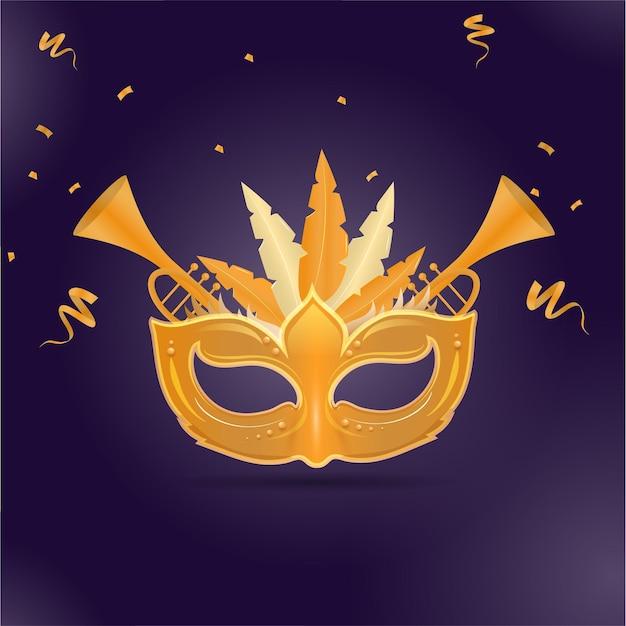 Goldene karnevalsmaske mit trompeteninstrumenten und konfettiband Premium Vektoren
