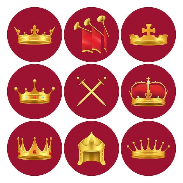 Goldene königkronen aus verschiedenen mittelalterlichen staaten, goldschwertern und kaminen mit roten stoffvektorillustrationen in den scharlachroten kreisen. Premium Vektoren