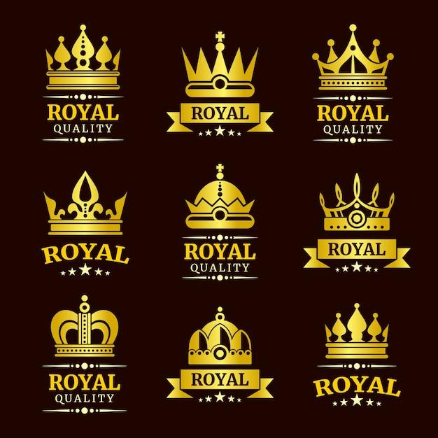 Goldene königliche qualitätsvektorkronen-logoschablonen eingestellt Premium Vektoren