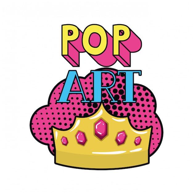 Goldene krone pop-art-ikone Premium Vektoren