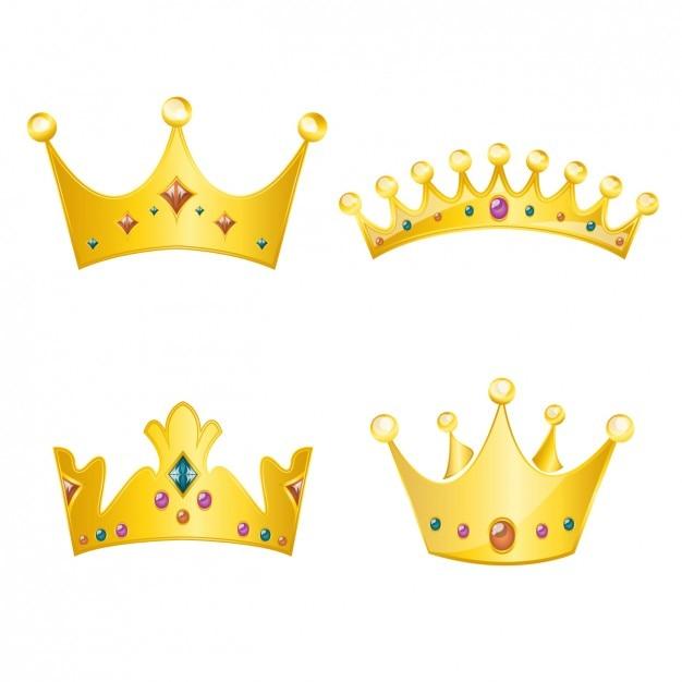 Goldene kronen sammlung Kostenlosen Vektoren
