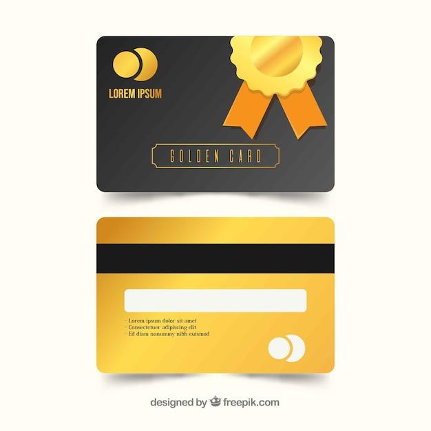 Goldene kundenkartenvorlage mit flachem design Kostenlosen Vektoren