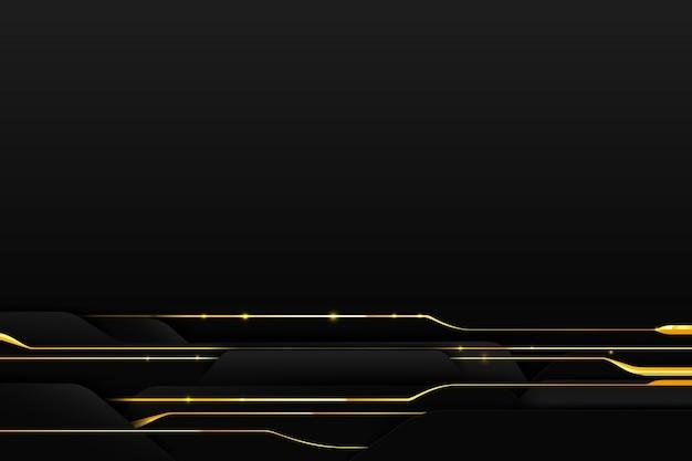 Goldene linie des abstrakten hintergrundes mit dunkelheit und schwarzem Premium Vektoren