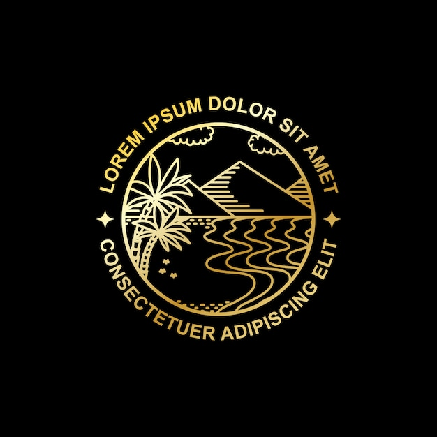 Goldene linie kunstdesign der tropeninsel Premium Vektoren