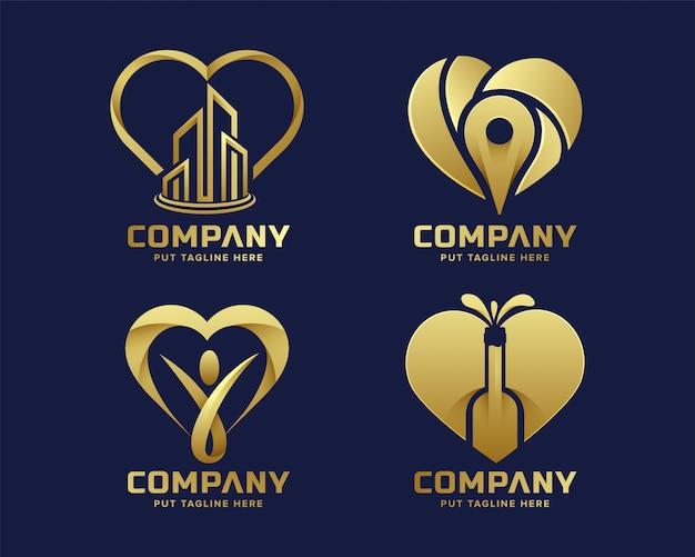 Goldene logo-sammlung der erstklassigen luxusherzliebe Premium Vektoren